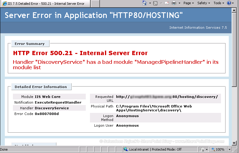 office web apps 2013 server error