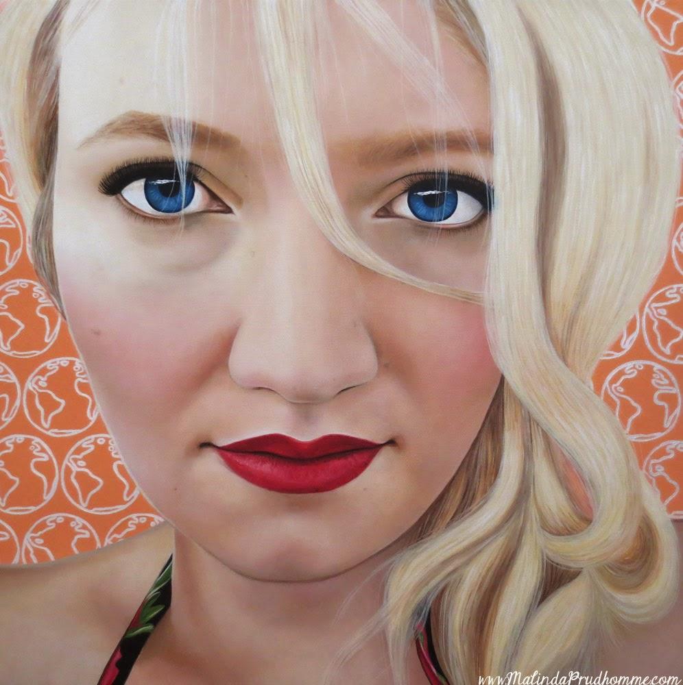 Katrina Schaman, travel art, globe painting, beauty art, true beauty, malinda prudhomme, portrait art, toronto portrait artist, realism, portrait painting, canadian artist, realistic portraiture