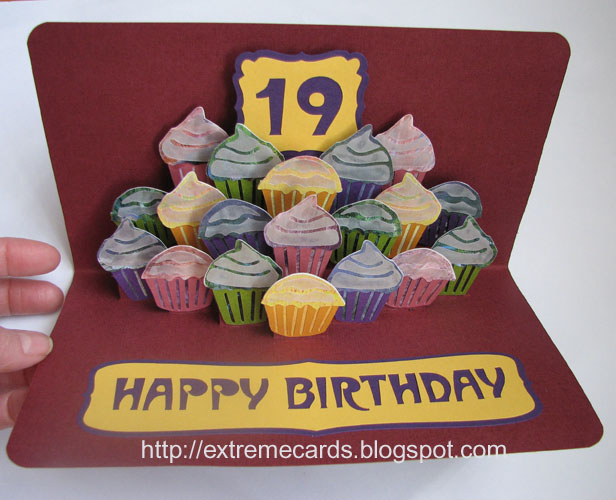 extreme cards and papercrafting cupcake cake birthday card, Birthday card
