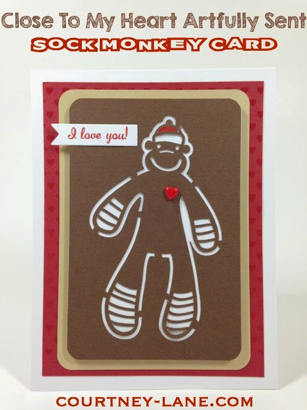 Close To My Heart Artfully Sent Cricut Cartridge Sock Monkey card