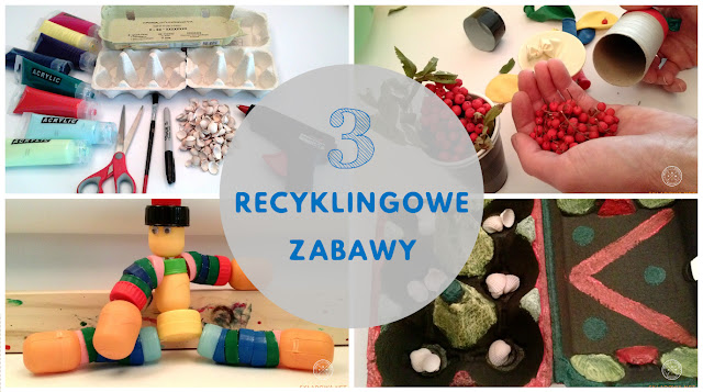 Trzy zabawki recyclingowe