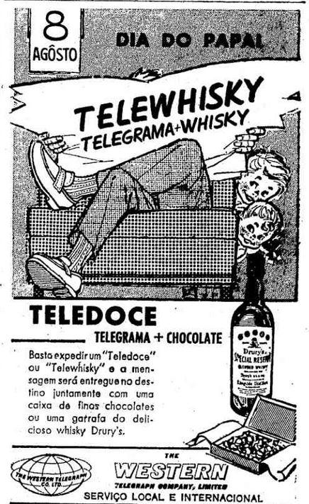 Sugestão de presente para o Dia dos Pais em 1965: telewhisky - envio de whisky ou chocolate por telegrama.