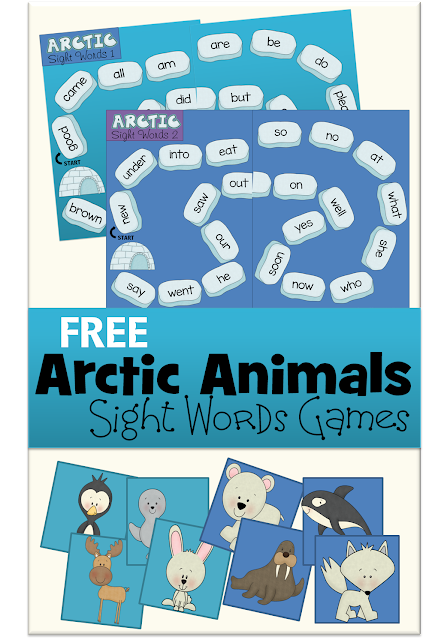 Arctic Animals - FREE printable Sight Words Games to help Kindergarten, 1st grade, and 2nd grade kids to practice Primer Dolch Sight Words in a FUN way! (homeschool, sight words, kids activities)