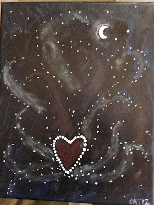 Night sky background. Moon and the planets Venus and Mars, which look like points of light – stars, form a triangle in the upper right-hand corner of the painting. In the rest of the painting dots of white create a sacred heart. Dots of green, red, blue and yellow outline the shapes of flames coming out of the heart.  A dusting of paint inside each flame helps the clarify the design of stars creating the shape of a heart on fire in the night sky.