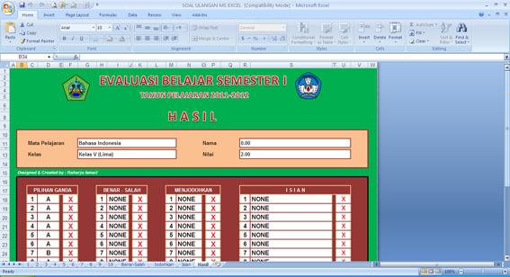 Bukalah file soal MS-Excel yang telah Anda download