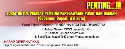 Edaran Menpan & RB Tentang Jadwal Pelaksanaan Seleksi CPNS 2013 Tenaga Honorer K2 dan Pelamar Umum