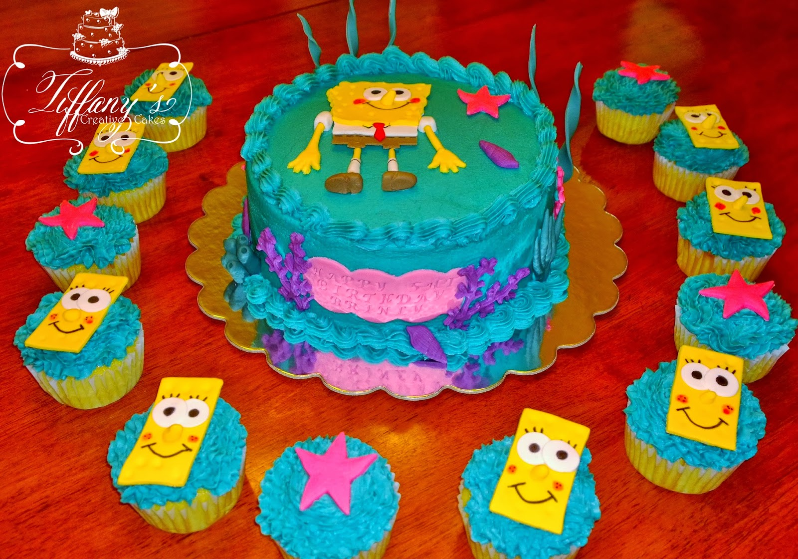 SpongeBob Cake and Cupcakes for Icing Smiles Tiffanys Creative Cakes