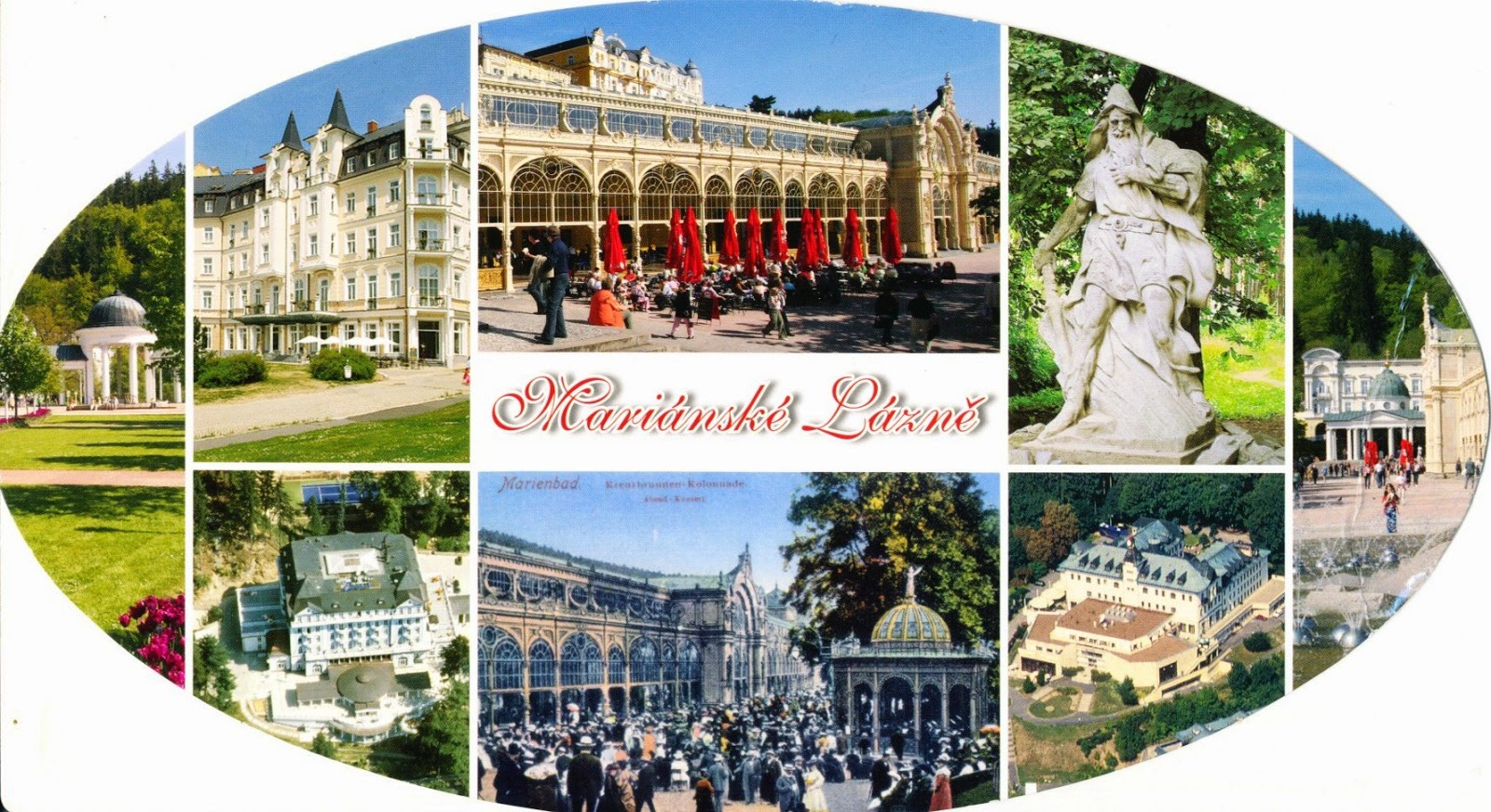 postcard, czech republic, marienbad, mariánské lázně, health spa