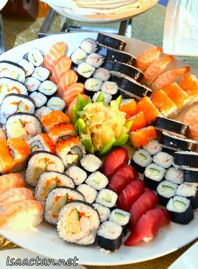 Various sushi and sashimis up for grabs at their Ramadhan buffet