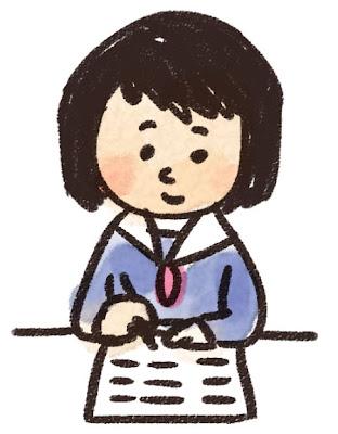 勉強をする女子中学生・高校生のイラスト「授業中」