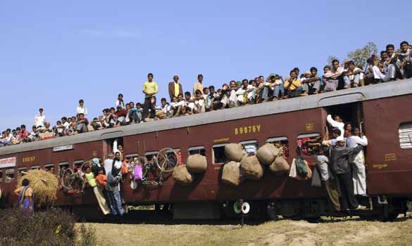 Traveling In A Crowded Train In India Right Shot In The
