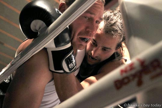 James Tango, right, won his bout against Henare Harris - Kelt Capital King of Club Rugby charity boxing event, at Lindisfarne College, Hastings. photograph