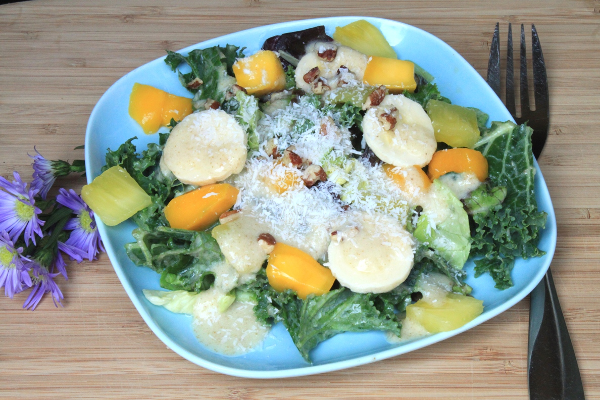 ... Pinch: Tropical Kale Salad with Creamy Pineapple Coconut Dressing