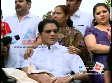 Jagathy Meet Media After Accident