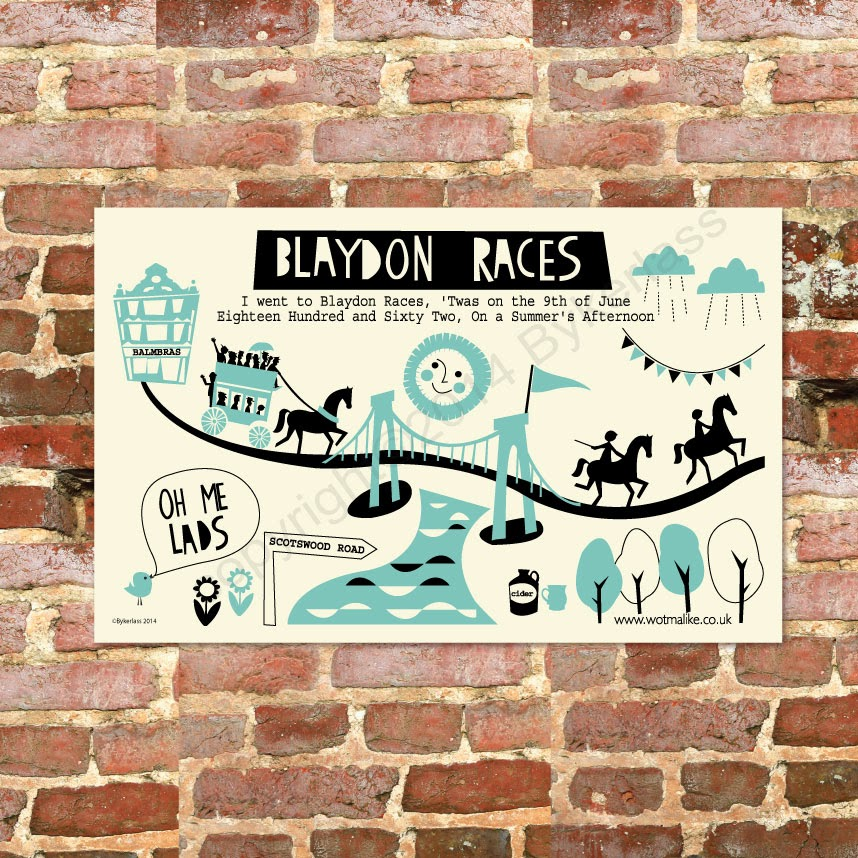 Blaydon Races Tea Towel Great for Geordie Gifts