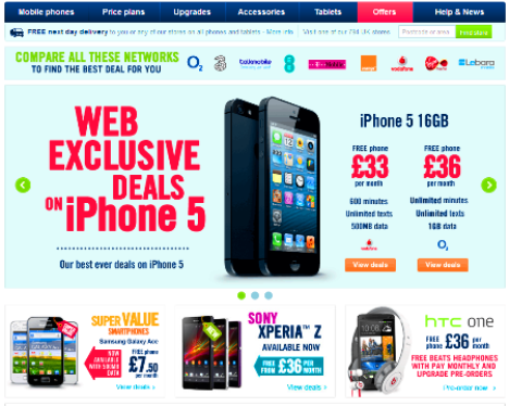 Carphone Warehouse has more than brick and mortar store shops scattered in the UK, with more located across Europe. The retail shop offers the latest models on smart phone brands on a wide range of available mobile networks. They offer pay as you go promos, SIM-only bundles and also monthly telecom contracts.