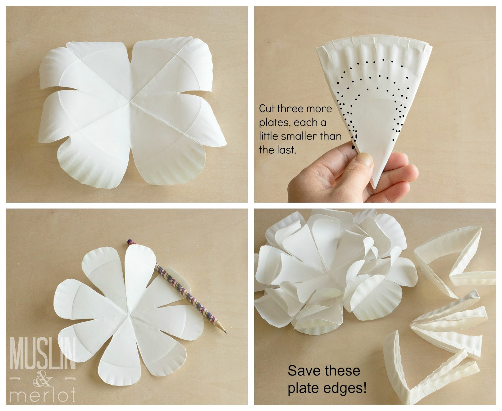 Paper plate flowers muslin and merlot paper plate flower tutorial mightylinksfo Images
