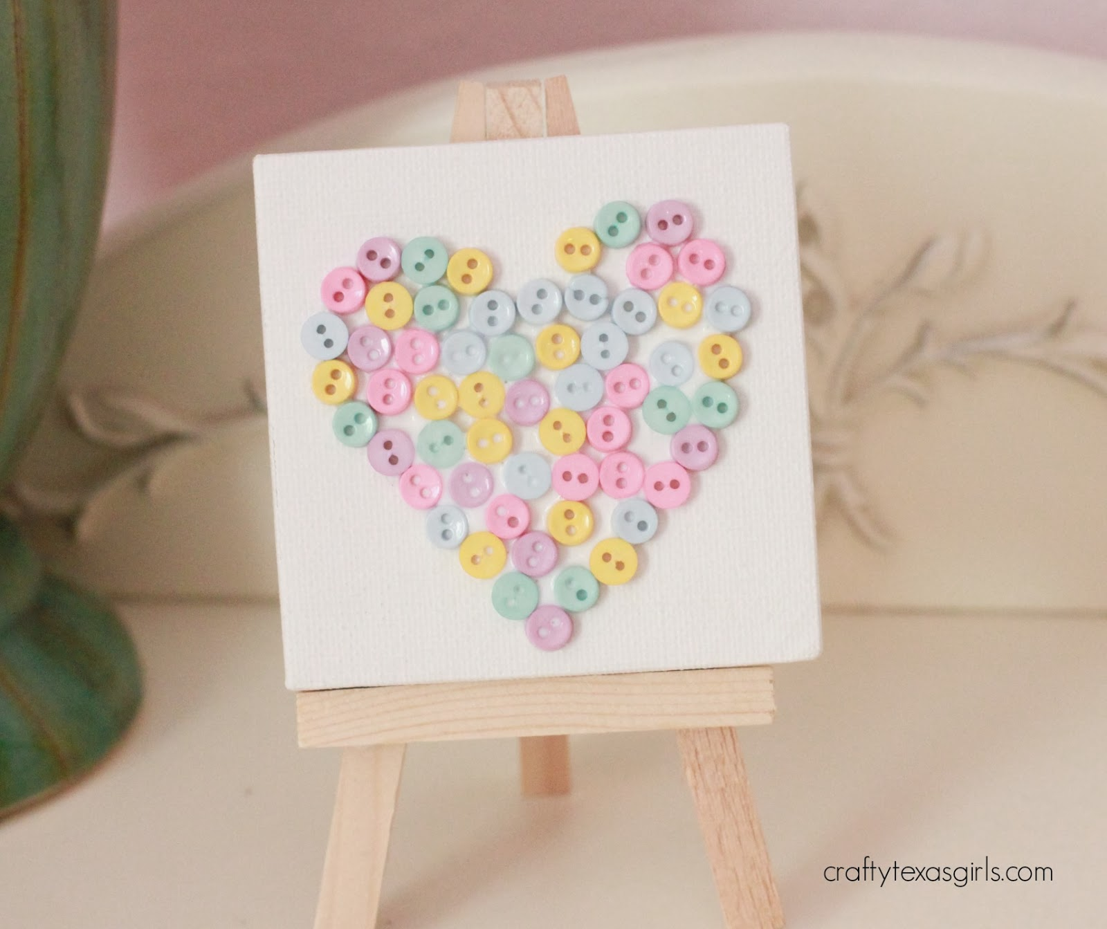 Crafty texas girls button heart a valentine craft for for Button crafts for adults