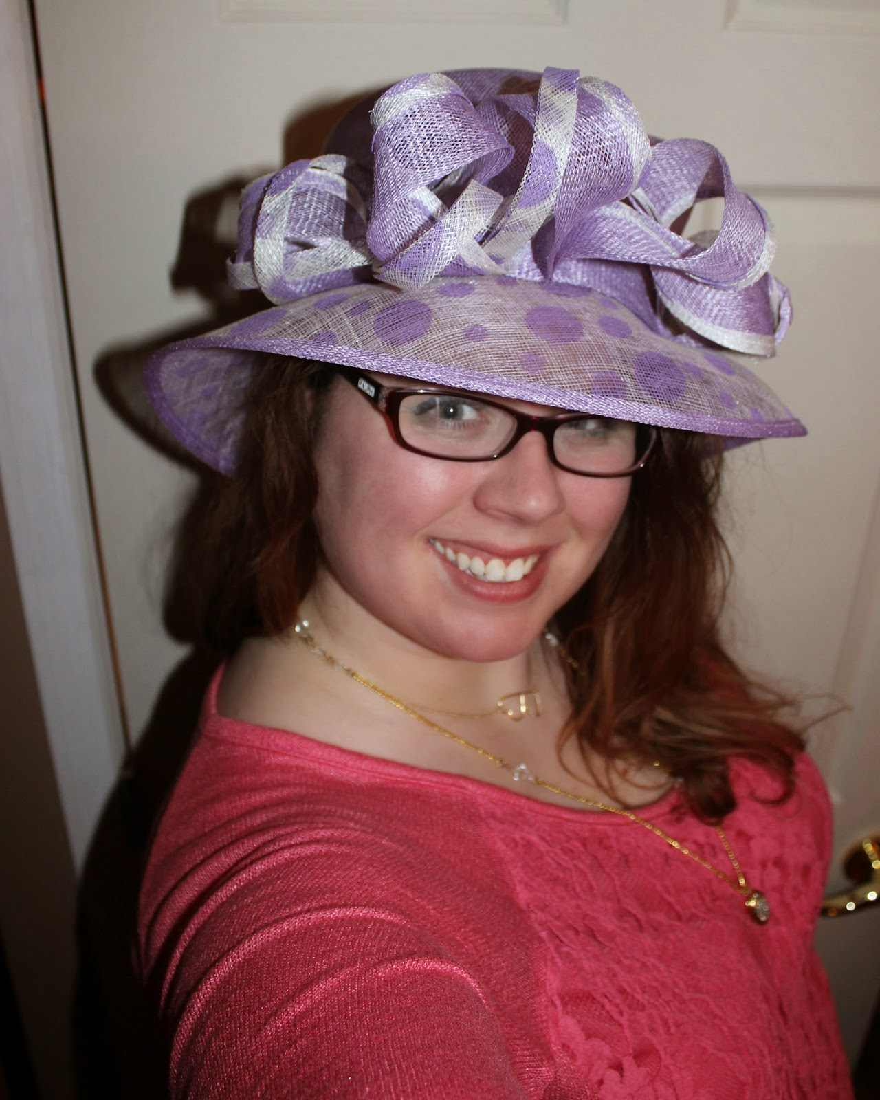 sinamay hat, purple hat, polka-dot hat, dress hat, fancy hat, how to wear, what mama wears