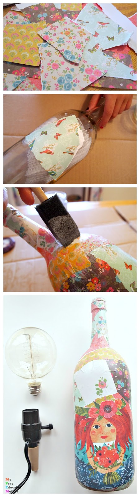 How to decoupage a wine bottle and turn it into an Edison lamp to give as a crafty DIY gift idea.