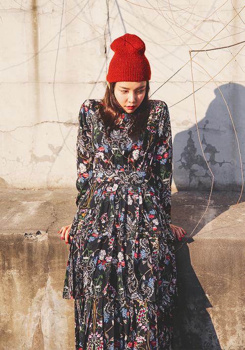 Pleated Layered Long Sleeve Dress