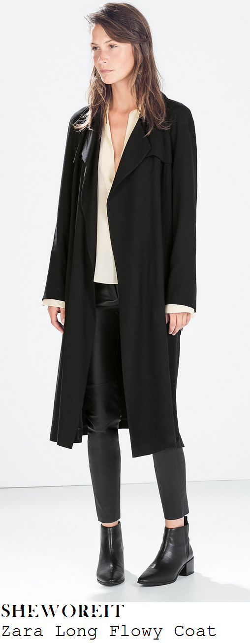 michelle-keegan-black-oversized-long-flowy-trench-midi-coat-itv-studios