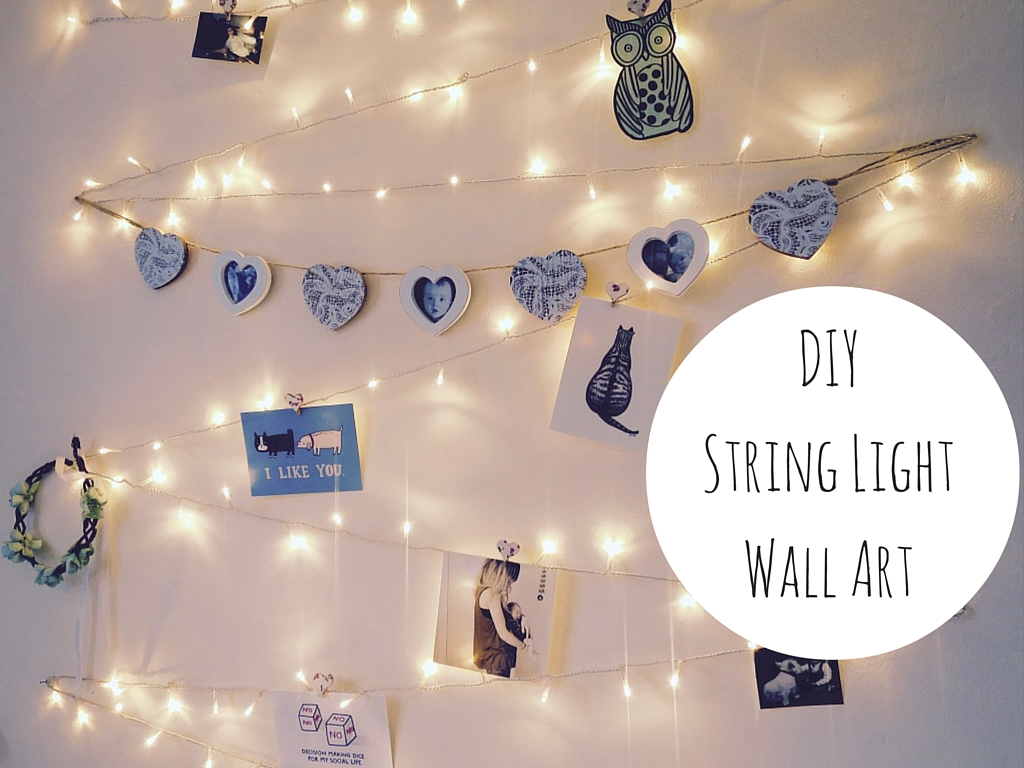 Wall Art With Lights diy string light wall art decoration