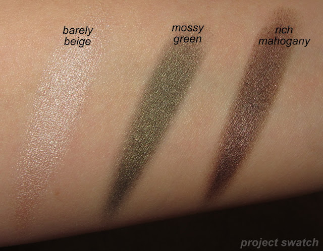 Maybelline Barely Beige, Mossy Green, Rich Mahogany - swatches