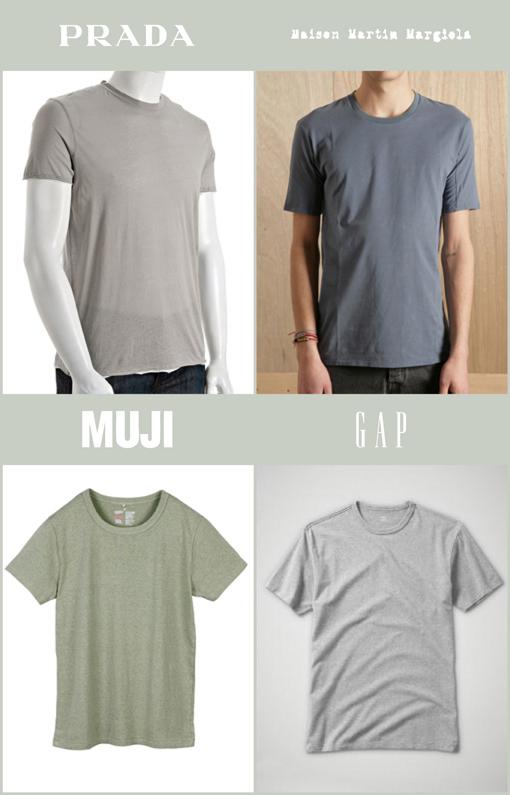 GREY T-SHIRT - PRADA / MAISON MARTIN MARGIELA / MUJI / GAP