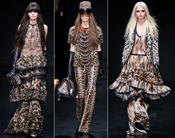 a5ee2d0634a09 a coleção fall 2012 da Roberto Cavalli está primorosa. os vestidos lembram  a proposta de McQueen de 2005