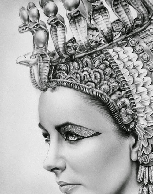 17-Elizabeth-Taylor-Ileana-Hunter-Recognise-Portrait-Drawings-Detail-www-designstack-co