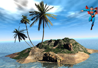 Superman free wallpapers flying in the sky in 3D Island background