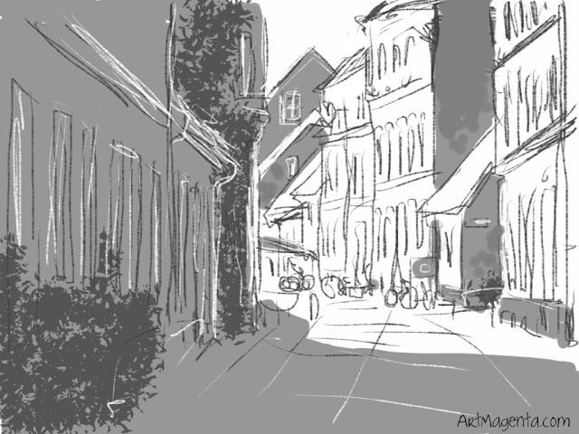 Gamla Väster, Malmö, sketch by ArtMagenta