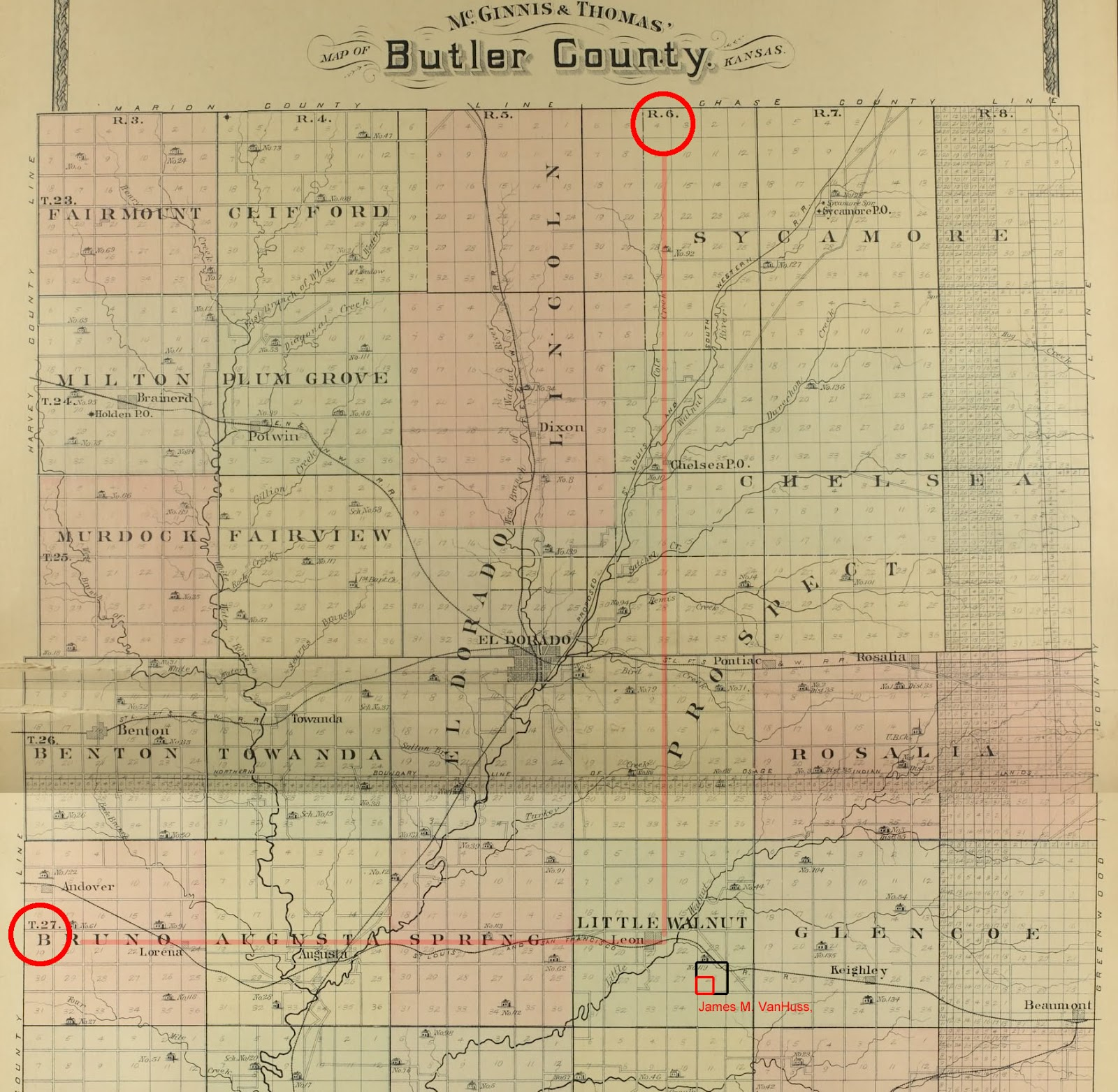 Vanhuss settling kansas 1875 butler county 1905 map showing range township and section xflitez Choice Image