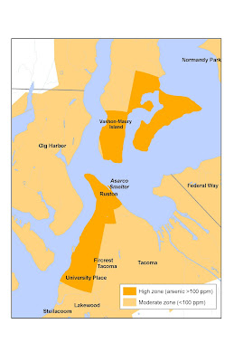 Map showing the arsenic high-level zone around the Tacoma smelter
