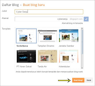 Buat Blog Baru di Blogger