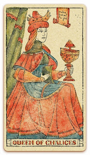 Queen of Chalices card - Colored illustration - In the spirit of the Marseille tarot - minor arcana - design and illustration by Cesare Asaro - Curio & Co. (Curio and Co. OG - www.curioandco.com)