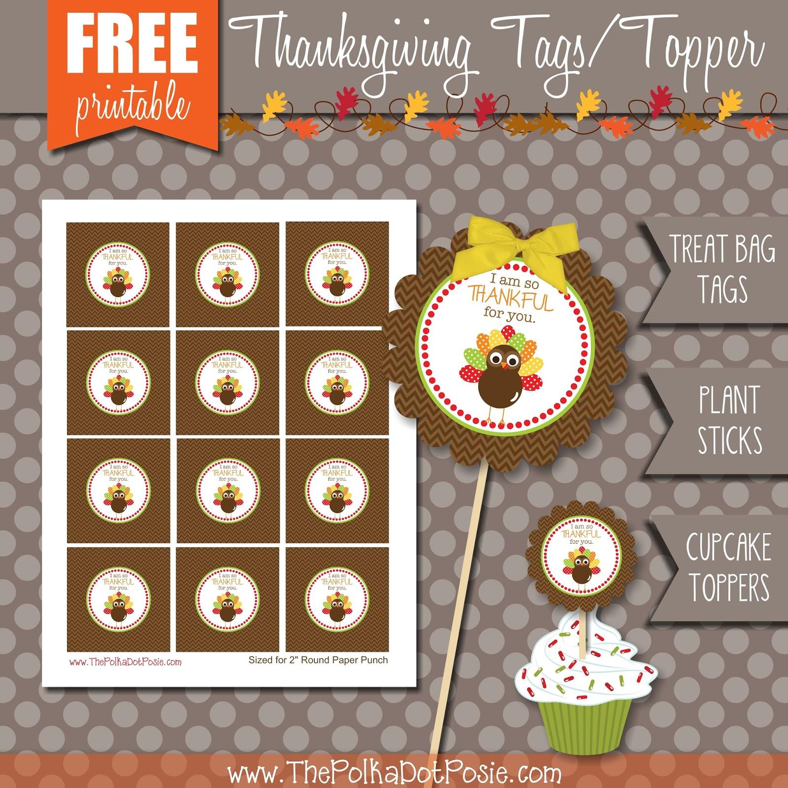 image about Free Printable Thanksgiving Tags identify The Polka Dot Posie: Thanksgiving Printable Goodies!