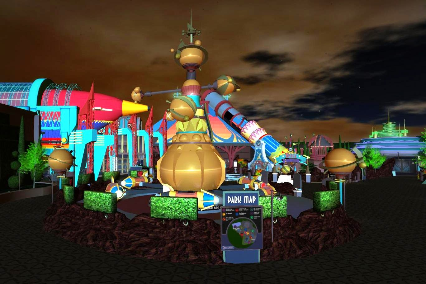 Second Life Destinations: The Orbiter Ride at Discovery Looks Like Futurama
