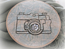 BLING- embroidered camera on a map of Paris