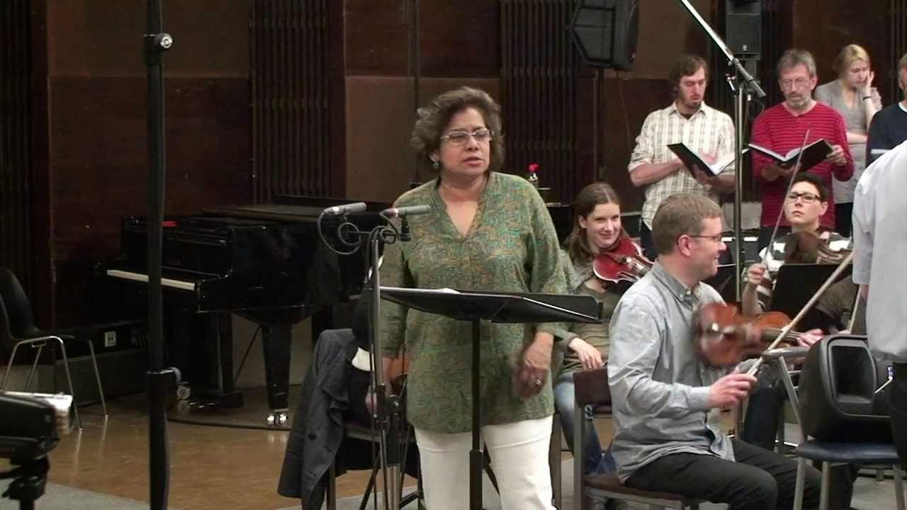 Soprano Patricia Rozario recording Roxanna Panufnik's Dance of Life Tallinn Mass