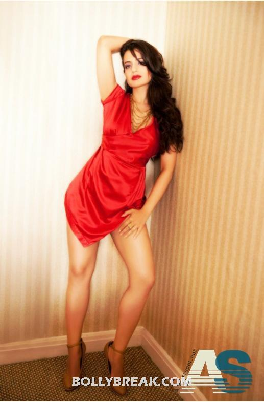 amisha Patel hot legs in nighty - (2) - Amisha patel Red Nighty Pics