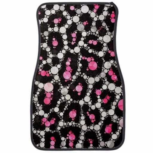 pink black girly car mat sets