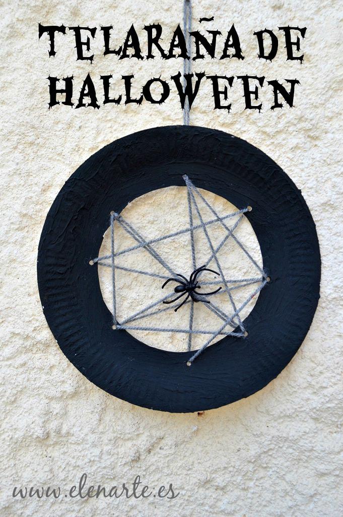 Telaraña de Halloween con un plato