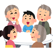 お年寄りと子供たちが話しているイラスト