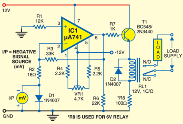 simple relay actuating circuit with millivolt sensitivity use man rh use manprojects blogspot com