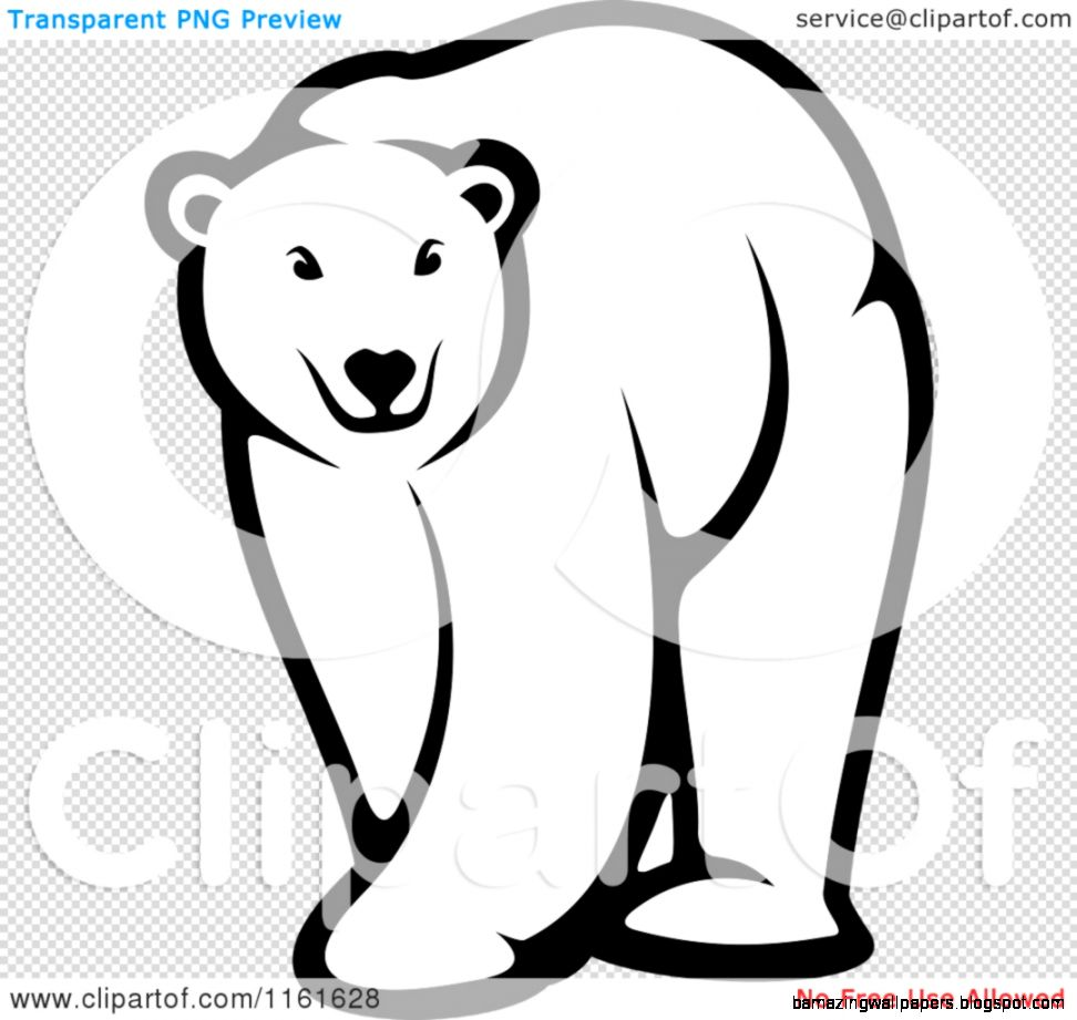 Clipart of a Black and White Walking Polar Bear   Royalty Free