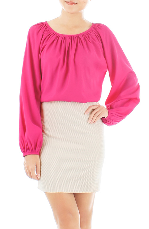 Gathered Wish Long Sleeve Blouse – Hot Pink