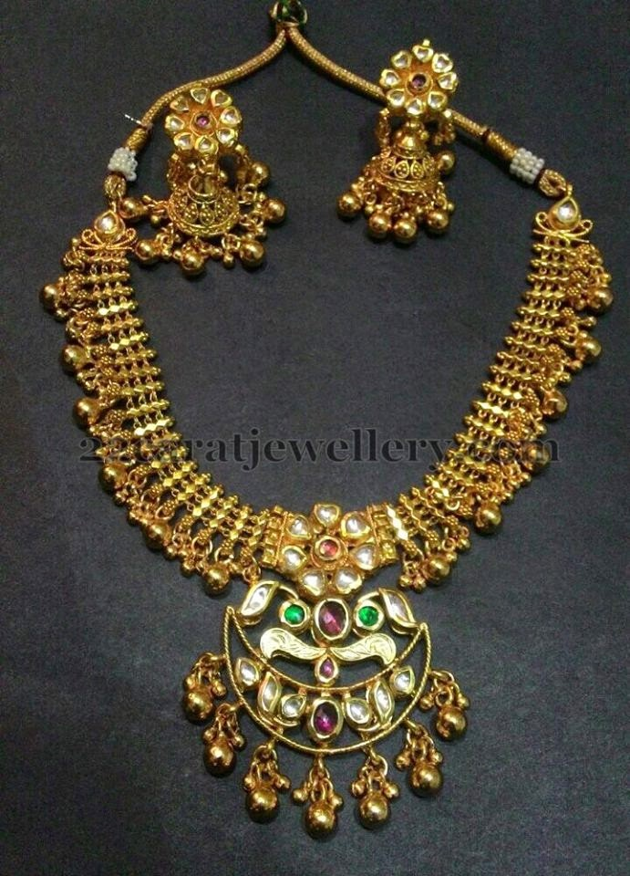1 Gram Gold Kundan Jhumkas Jewellery Designs