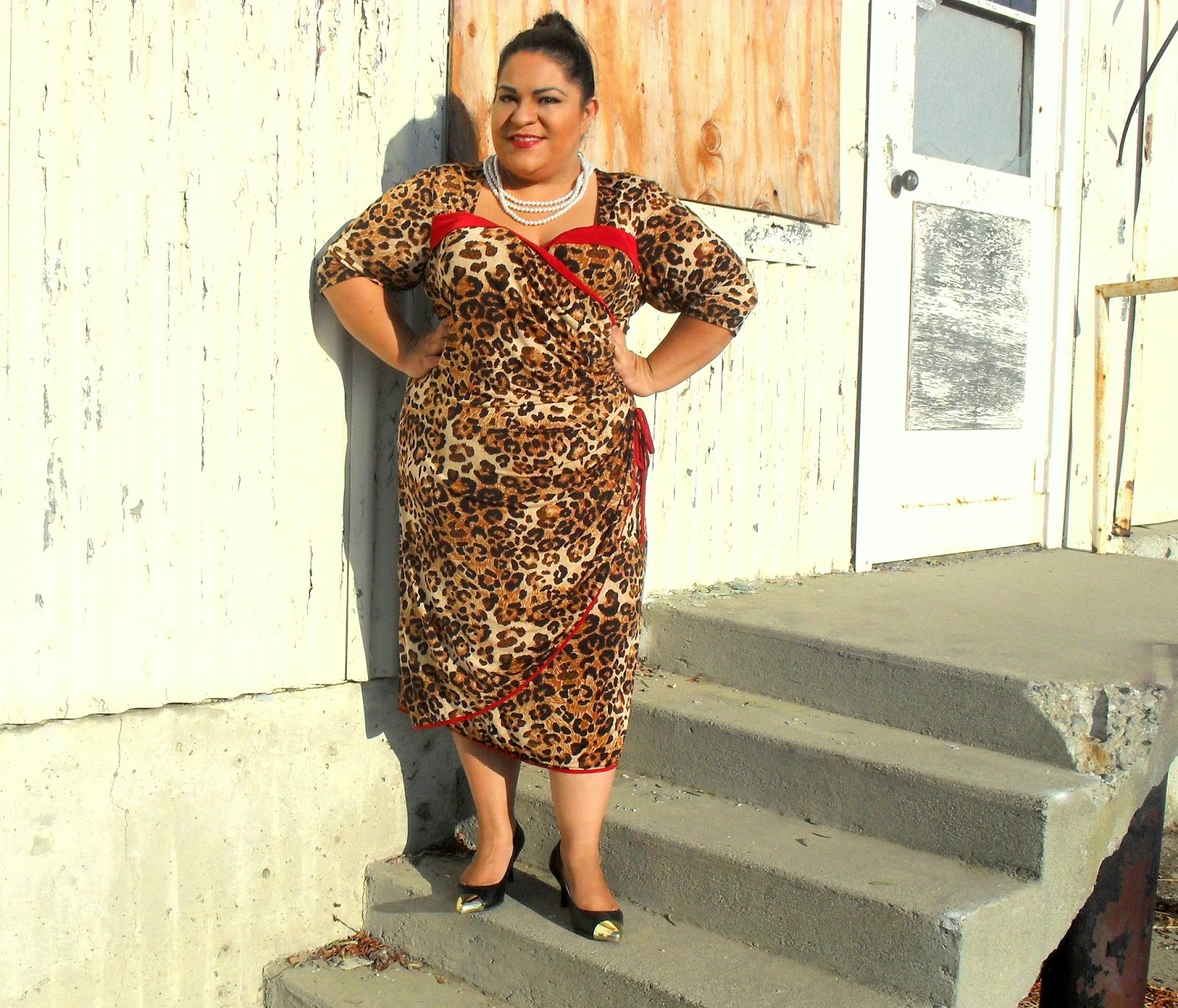 Kiyonna Portia Pin Up Dress In Leopard Print Roar Outfit Of